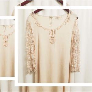 🖤2/$22 Altar'd State cream long sleeve dress - S